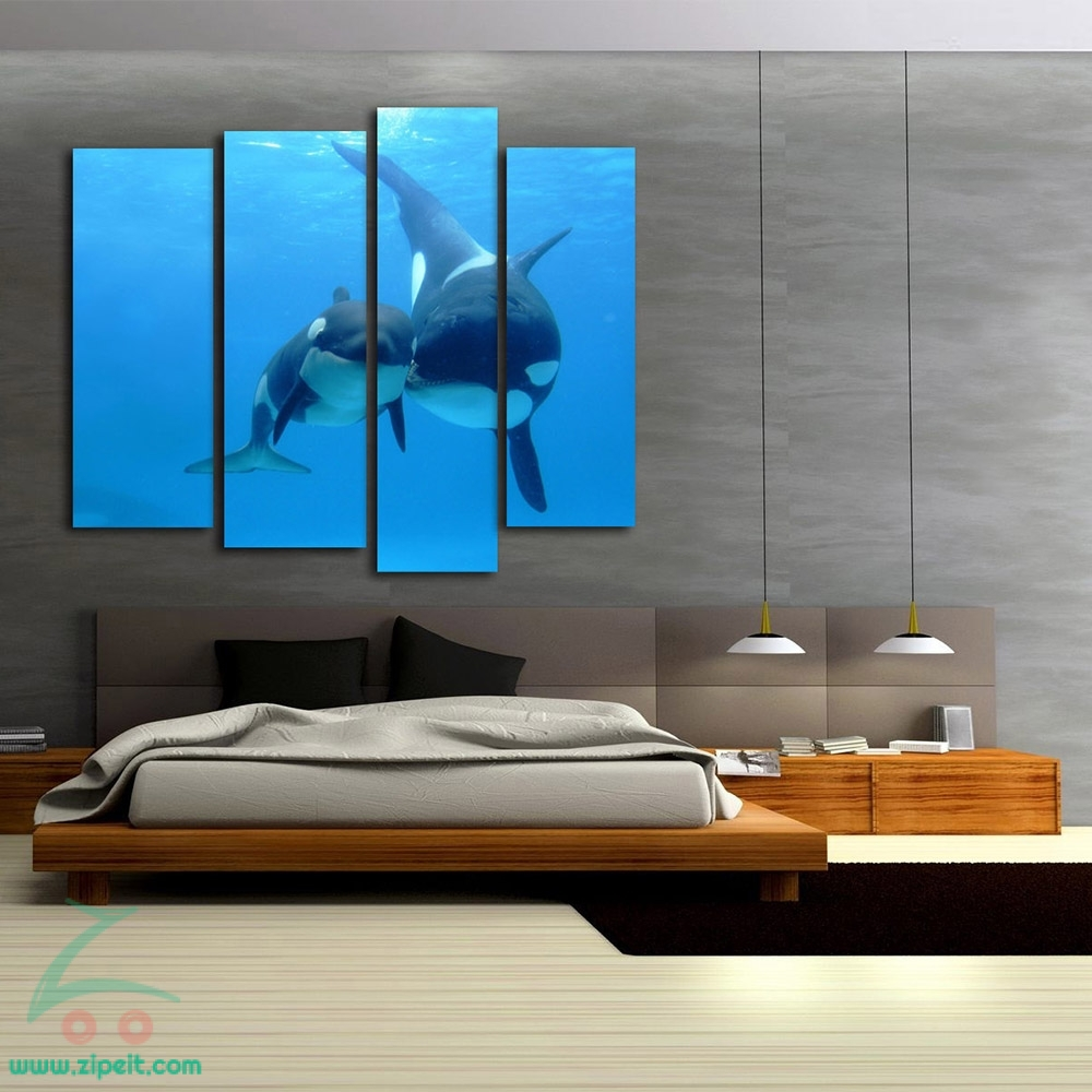 Whale Dolphin - 4 Panel Gloss Lamination- Wall Stickers